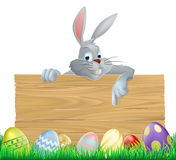 Easter eggs and bunny sign Stock Images
