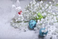 Easter eggs and bunny. Easter symbols including flowers eggs and bunny Royalty Free Stock Photos