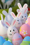 Easter eggs and bunny toys Royalty Free Stock Images