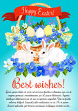 Easter eggs and bunny vector greeting poster Royalty Free Stock Photo