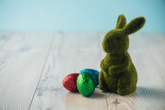 Easter eggs and a bunny Stock Image