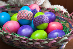 Easter eggs with bunny stock images