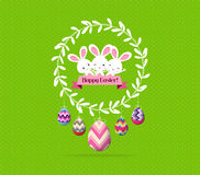 Easter eggs and bunny wreaths label greeting card Royalty Free Stock Images