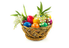 Easter eggs in busket  isolated on white background concept holyday Stock Image