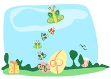 Easter eggs with butterfly Royalty Free Stock Images