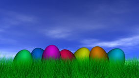 Easter Eggs and Butterfly Stock Photo