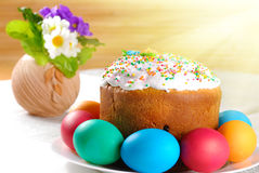 Easter eggs and cake Stock Photo