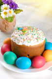 Easter eggs and cake Stock Photos