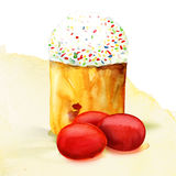Easter eggs and cake. Watercolor painting on white background Royalty Free Stock Images