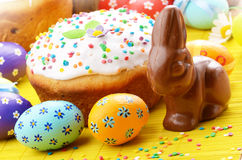 Easter eggs, cake Royalty Free Stock Photo