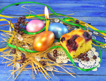Easter eggs with cake Stock Photos