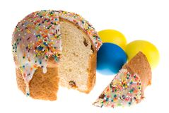 Easter eggs and cake. Isolatad Royalty Free Stock Photos