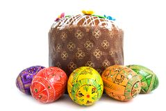 Easter eggs and cake Royalty Free Stock Photos