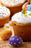 Easter eggs, cake, basket Royalty Free Stock Photography