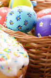 Easter eggs, cake, basket Royalty Free Stock Images