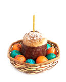 Easter eggs and cake isolated Stock Photos