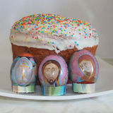 Easter eggs and cake. Christian tradition. Stock Images