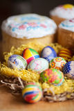 Easter eggs and cake Royalty Free Stock Image