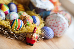 Easter eggs and cake Stock Photography