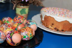Easter eggs and cake. Stock Images