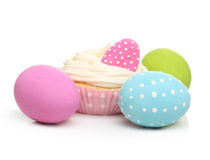 Easter eggs and cake isolated Stock Image