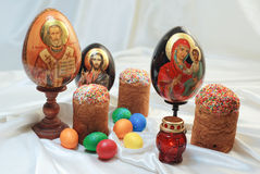 Easter eggs cake Jesus Christ Saint Nicholas Holy Mary Stock Images