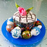 Easter eggs and cake kulich Stock Images