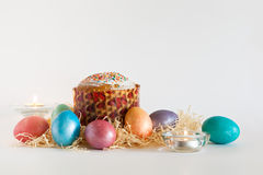 Easter eggs and cake Royalty Free Stock Photography