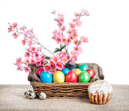 Easter eggs and cake royalty free stock photo