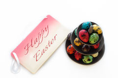 Easter Eggs on Cake Stand Royalty Free Stock Photos