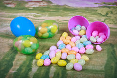 Easter Eggs With Candy Stock Photography