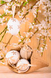Easter eggs in canvas bag Royalty Free Stock Photography