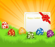Easter eggs and card Royalty Free Stock Photography