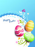 Easter eggs card. Painted eggs are decorated by various techniques before Easter Stock Photography
