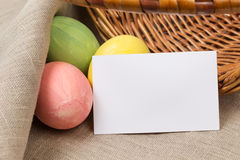 Easter eggs with card Stock Photos