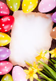 Easter eggs and card Royalty Free Stock Photos