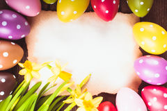 Easter eggs and card Stock Images