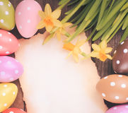 Easter eggs and card Royalty Free Stock Image