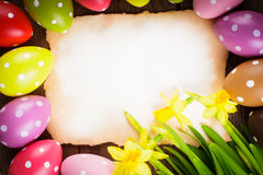 Easter eggs and card Stock Photo