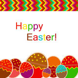 Easter eggs card with colourful eggs. Stock Photo