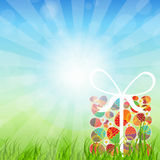 Easter eggs card with colourful eggs. vector Stock Photo
