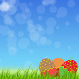 Easter eggs card with colourful eggs. vector Stock Photography