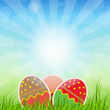 Easter eggs card with colourful eggs. vector Stock Photos