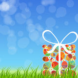 Easter eggs card with colourful eggs. vector Stock Image