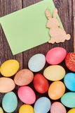 Easter eggs, card with copyspace. Stock Image