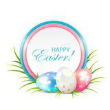 Easter eggs with card Royalty Free Stock Photos