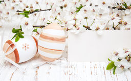 Easter eggs and card Royalty Free Stock Photo