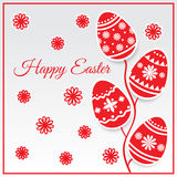 Easter eggs card in red color. Vector Stock Photography