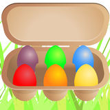 Easter eggs in cardboard box Stock Photos