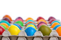 Easter eggs in carton Royalty Free Stock Image